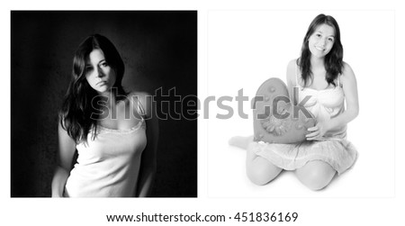 Two portraits of the same young girl. Emotion concept, left photo: sad and depressed, right photo: amorous and happy, black and white - stock photo