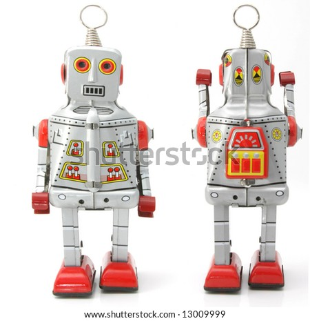 two retro robots - stock photo