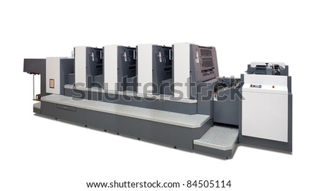 two-section offset printed machine. Isolated with clipping path - stock photo