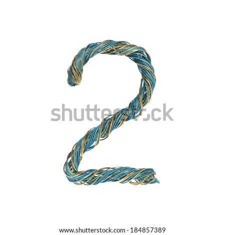 2, two, set of numbers of twisted wire - stock photo