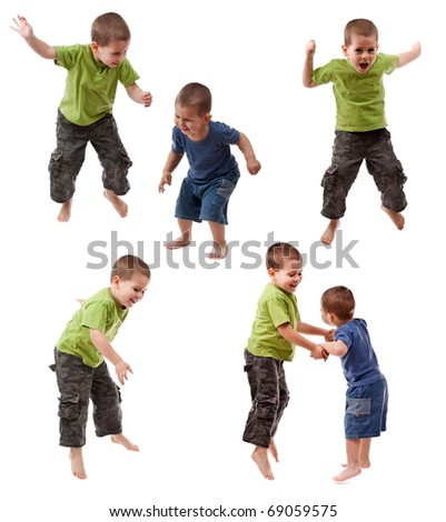 Two young brothers jumping in multiple poses - stock photo