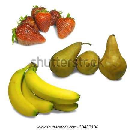 3 Types of Fruit Isolation - stock photo