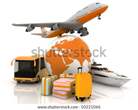 types of transport liners with a globe and luggage - stock photo