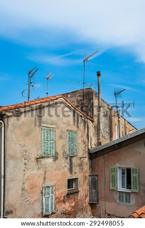 Typical architecture of old village in the south of france - stock photo