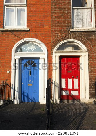 typical colorful house apartment doors Dublin Ireland Europe - stock photo