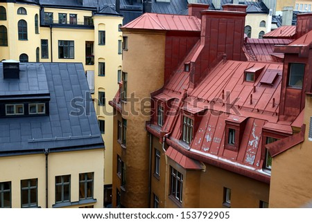typical roofs and windows of Stockholm, Sweden - stock photo