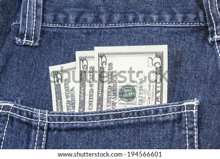 100 U.S. dollars in the back jeans pocket - stock photo