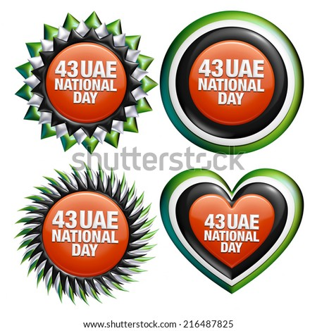 43 UAE National Day four badge with text design on isolated white background. - stock photo