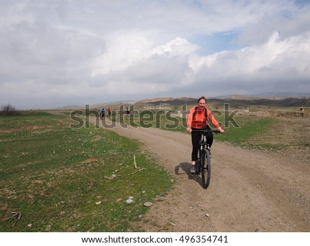 Udabno, Georgia,-  march 2016 Bicycling on the Road from Udabno Village,