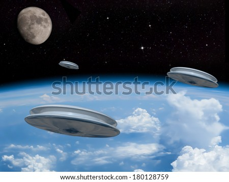 3 UFOs entering the earths atmosphere with the moon visible in the distance. Alien invasion! Welcome our new overlords! - stock photo