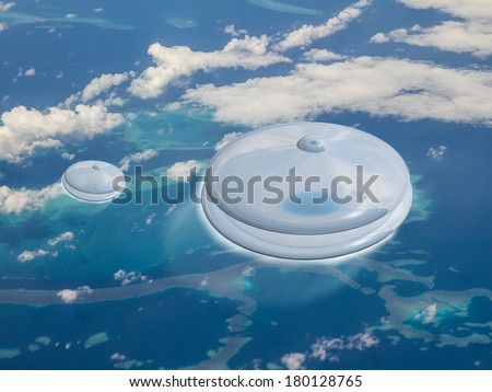 2 UFOs fly at great speed over a coral reef on planet earth. Is this an Alien invasion? - stock photo