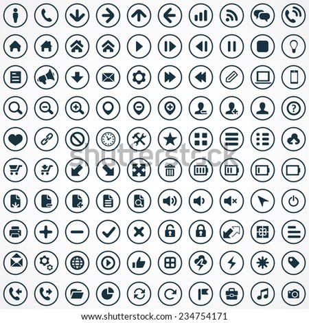 100 UI Icons For Web and Mobile big universal set
