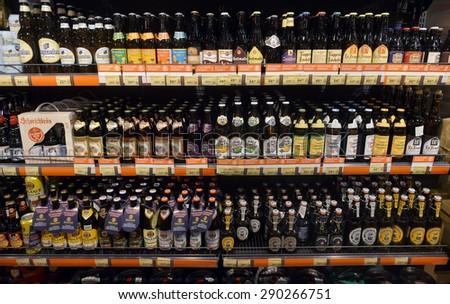 2015 Ukraine, Kiev, silpo, showcase of beer products in the supermarket,2015 Ukraine, Kiev, silpo, editorial - stock photo