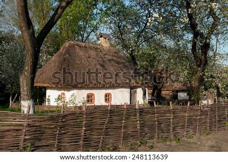 Ukrainian village in the spring  in Pirogovo near Kiev - stock photo
