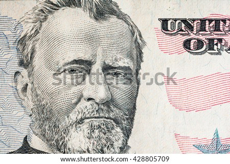 """Ulysses S. Grant"" face from US fifty or 50 dollars bill macro, united states money closeup - stock photo"