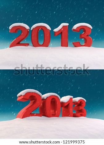 2013 under the snow - stock photo