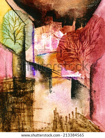 """Under windows"" Original watercolor painting on paper.  - stock photo"