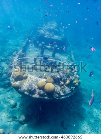Underwater at the Tug Boat wreck Views around the Caribbean island of Curacao in teh ABC islands