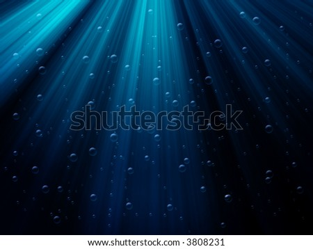 underwater scene with bubbles and sun-rays - stock photo