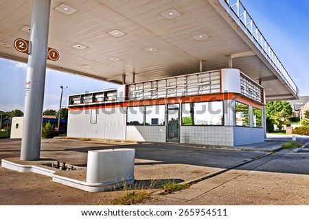 Unidentifiable Abandoned Out Of Business Gasoline Station/ Gas Station Closed - stock photo