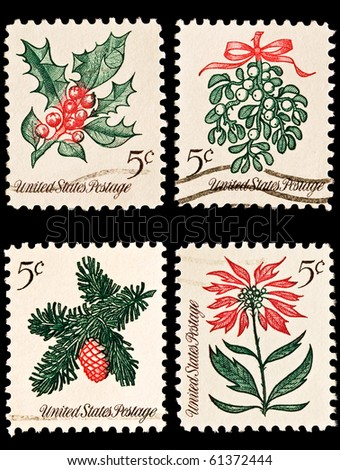 UNITED STATES - CIRCA 1960's : A stamp printed in United States.  Christmas postage stamps. United States - CIRCA 1960's - stock photo