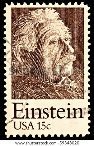 UNITED STATES - CIRCA 1970's : A stamp printed in United States. Portrait of Albert Einstein. United States - CIRCA 1970's - stock photo
