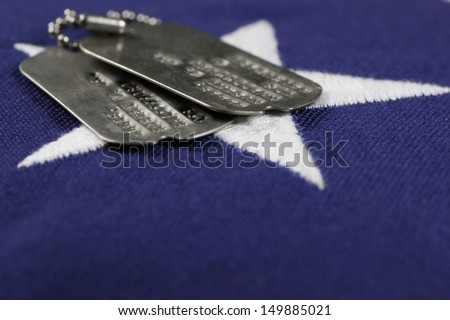 United States flag with military ID tags - stock photo