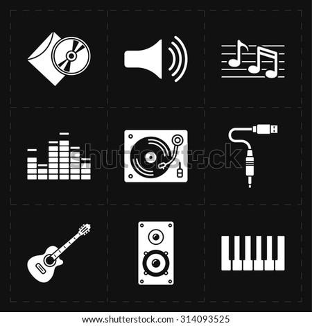 9 universal flat music icons - stock photo