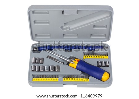 Universal screwdriver, toolbox on white background. - stock photo