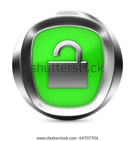 """unlock"" icon 3d render illustration - stock photo"