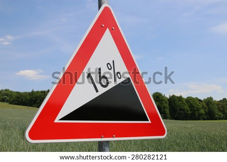 16% Uphill Road Sign in Germany - stock photo