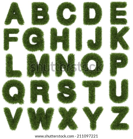 upper letters of green grass alphabet isolated on white background  - stock photo