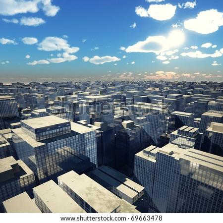 urban  landscape illustration (3D rendering) - stock photo