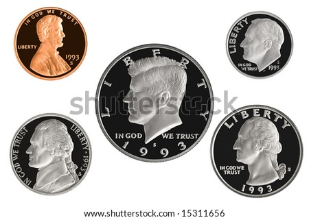 1993 US Coin Proof Set Isolated on white