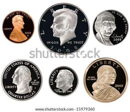 2008 US Coin Proof Set Isolated on white - stock photo