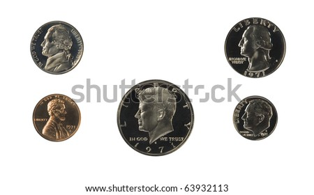 1971 US coins proof set isolated on white - stock photo