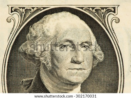 1 US dollar made in 1988. George Washington portrait on the 1 US dorllar banknote