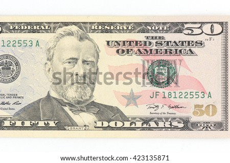 50  US dollar money isolated on white. - stock photo