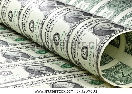 1 US Dollar uncut sheet - stock photo
