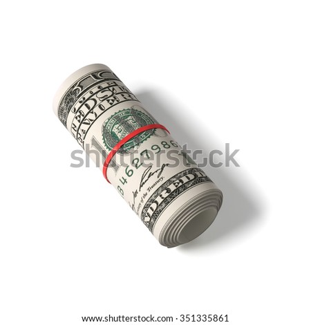 100 US dollars banknotes rolled up and tightened with red rubber band , isolated , 3d render - stock photo