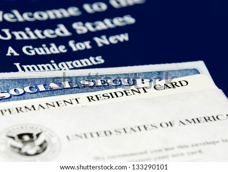 US immigration documents closeup - stock photo