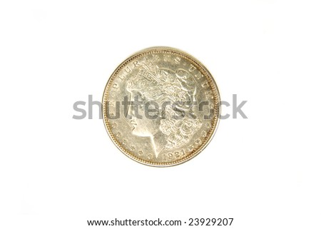 1921 US silver dollar heads side, on white - stock photo