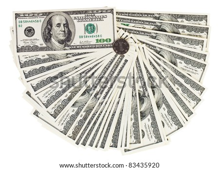 100 USA dollars bank notes fanned out on white with one Chinese yuan coin - stock photo
