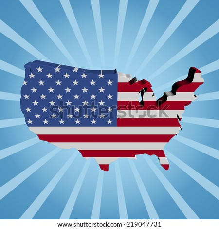 USA map flag on blue sunburst illustration - stock photo