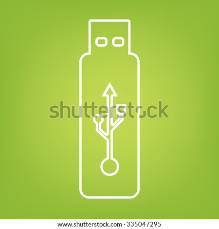 usb flash drive line icon - stock photo