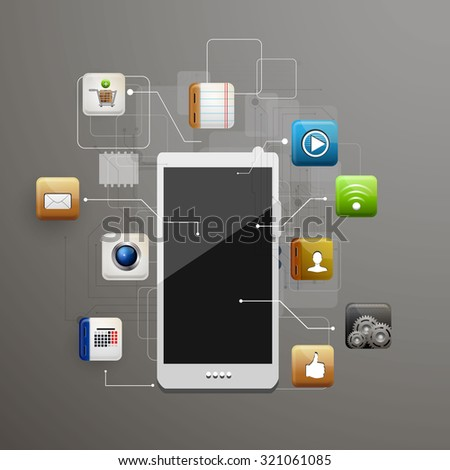 use of cloud computing storage and applications on a mobile device with a set of flat icons - stock photo