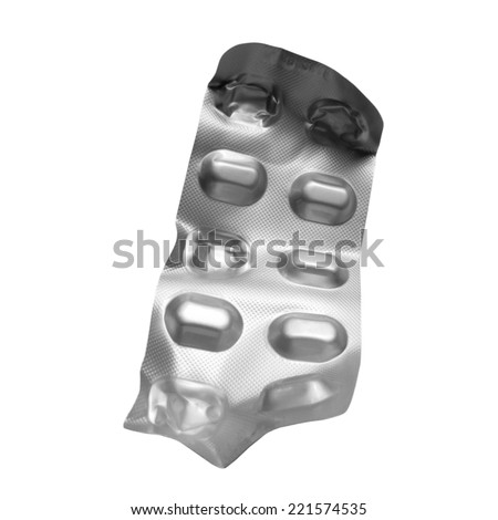 Used blister of pills isolated on white - stock photo
