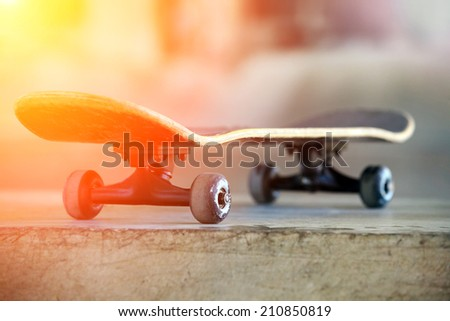 Used skateboard - stock photo