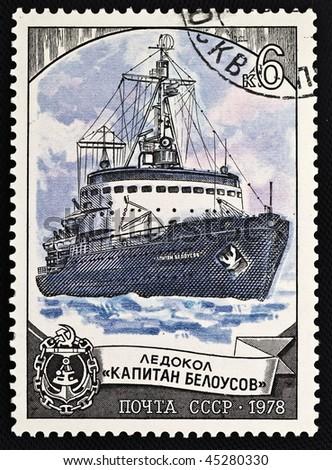 "USSR-CIRCA 1978: A stamp printed in USSR shows icebreaker ""Capitan Belousov"", circa 1978 - stock photo"