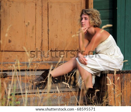 ?utdoor fashion portrait of a young woman - stock photo